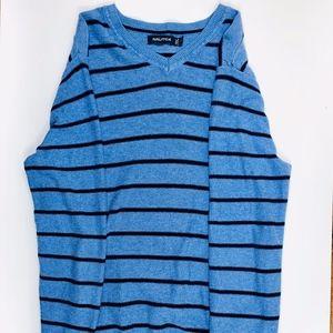 Nautica Men's sweater Blue Black Stripped V Neck
